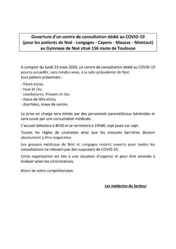 COMMUNIQUÉ OUVERTURE CENTRE CONSULTATION COVID 19