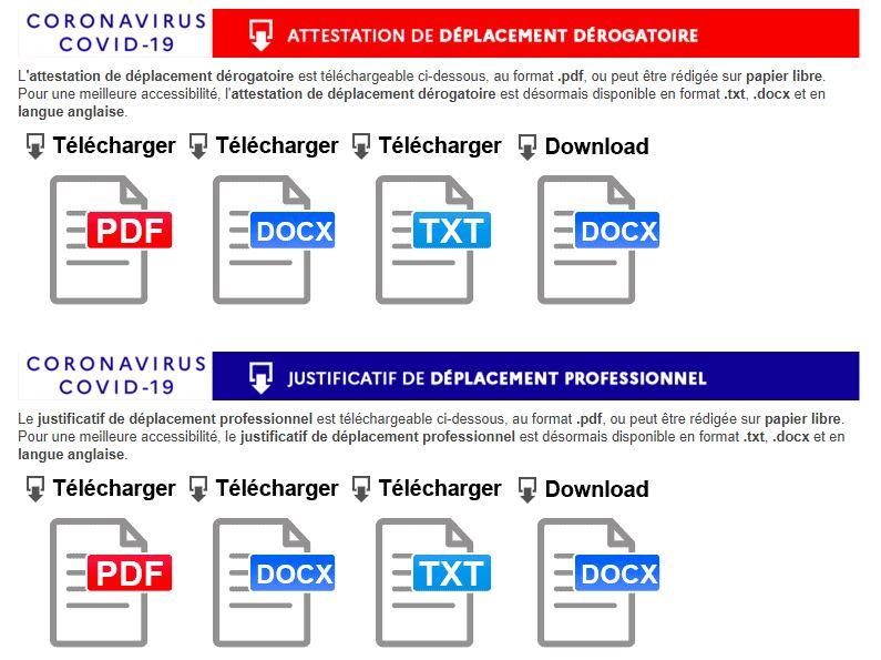 attestations déplacement dérogatoire et professionnels au 25-03-2020