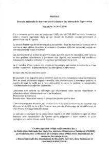 Message de la ministre des Armées pour la journée du 26 avril 2020
